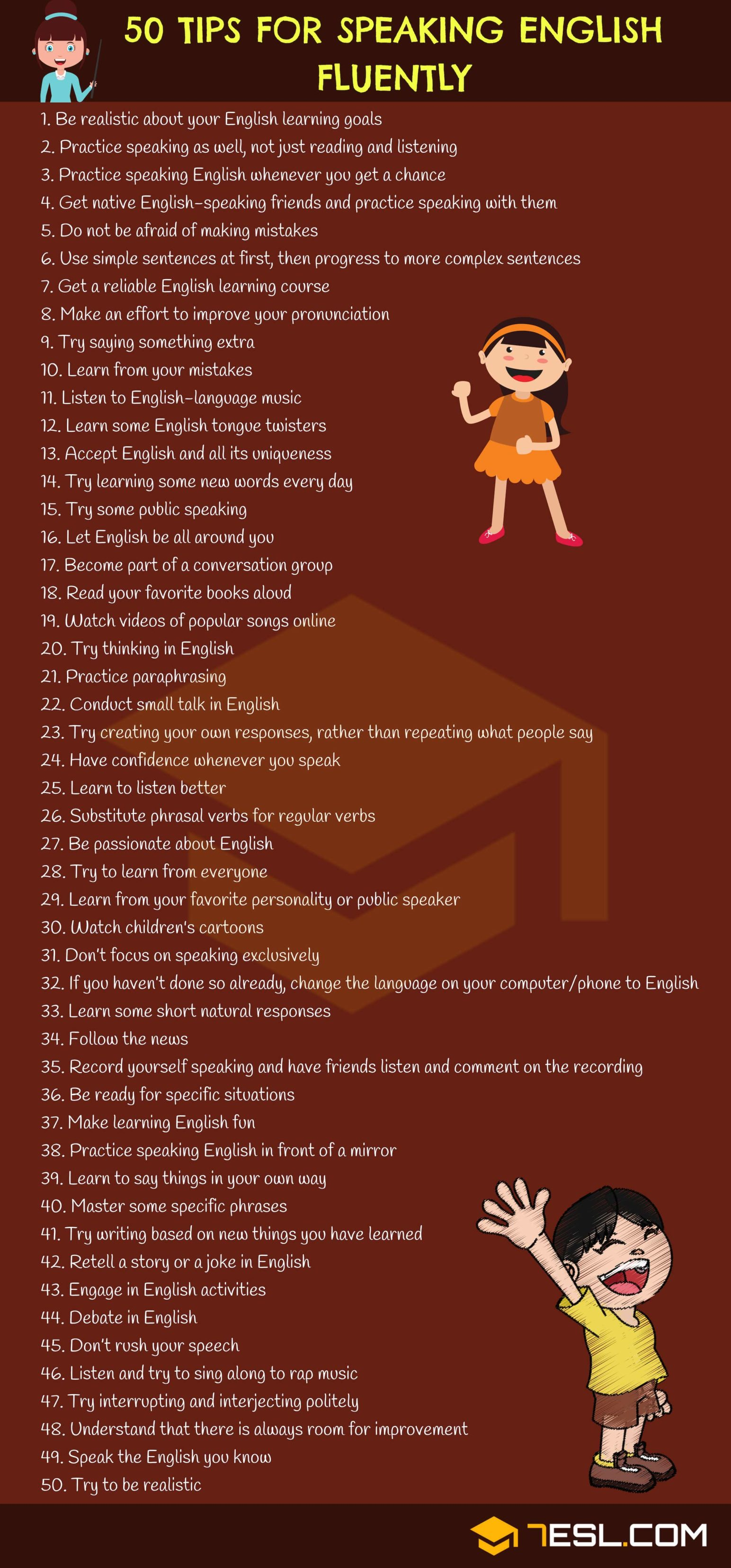 50 Tips for Improving Your English Speaking Skills form 7 E S L