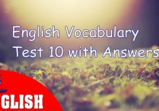 English Vocabulary Test 10 with Answers