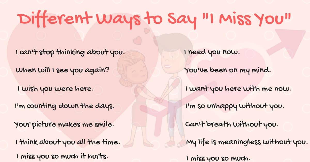 "Other Ways to Say ""I Miss You"" in English 8"
