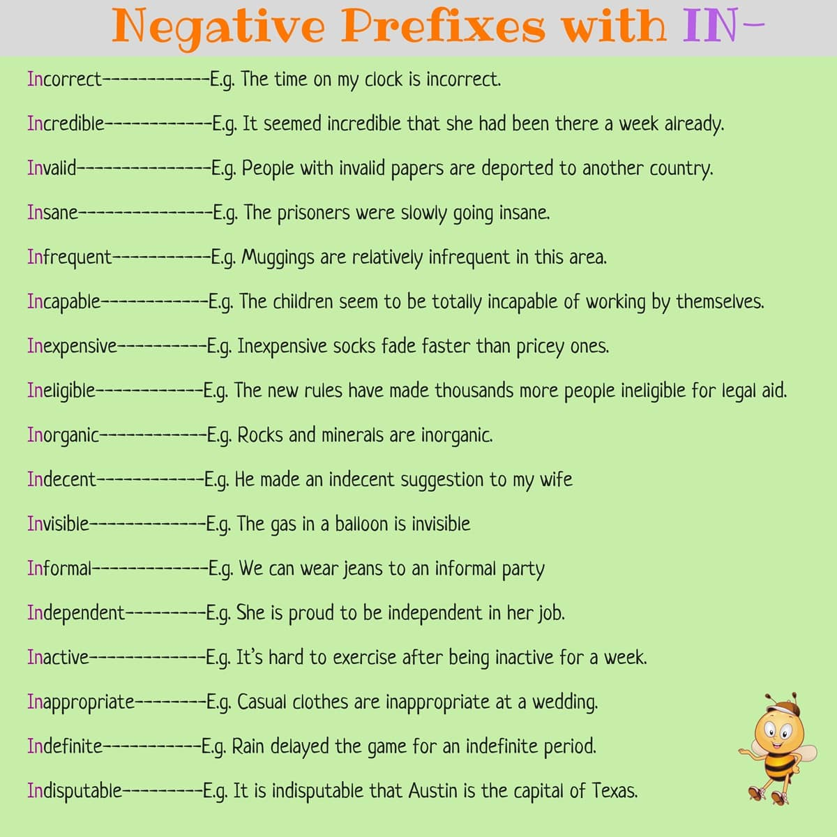 Antonyms List Using Common Prefixes in English 7