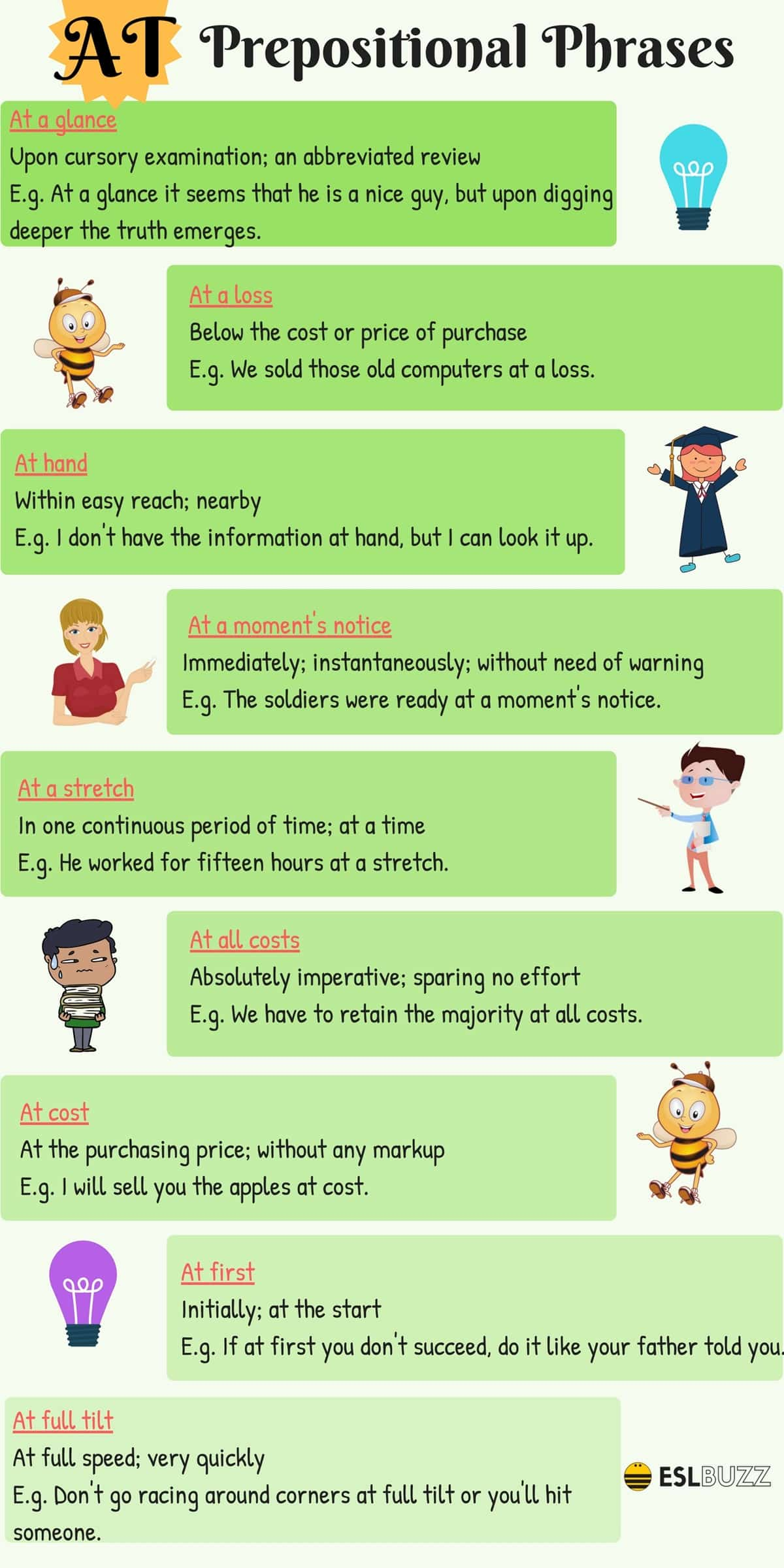 Prepositional Phrases with BY, AT, IN & FOR in English 3