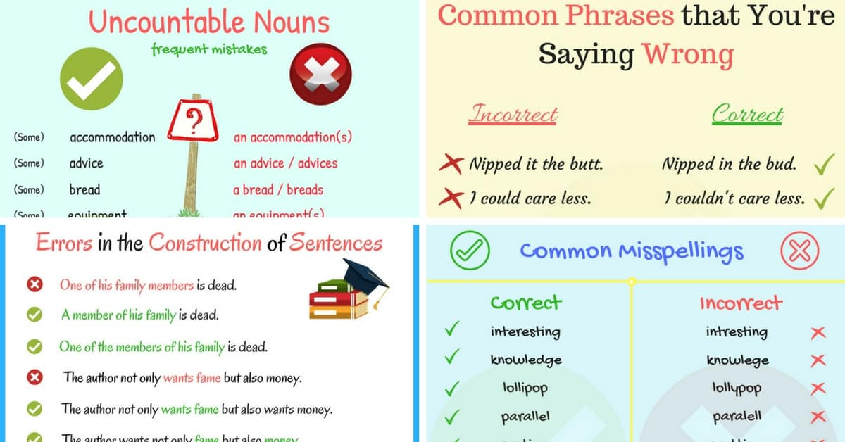 Common Mistakes Made by Learners of English 12