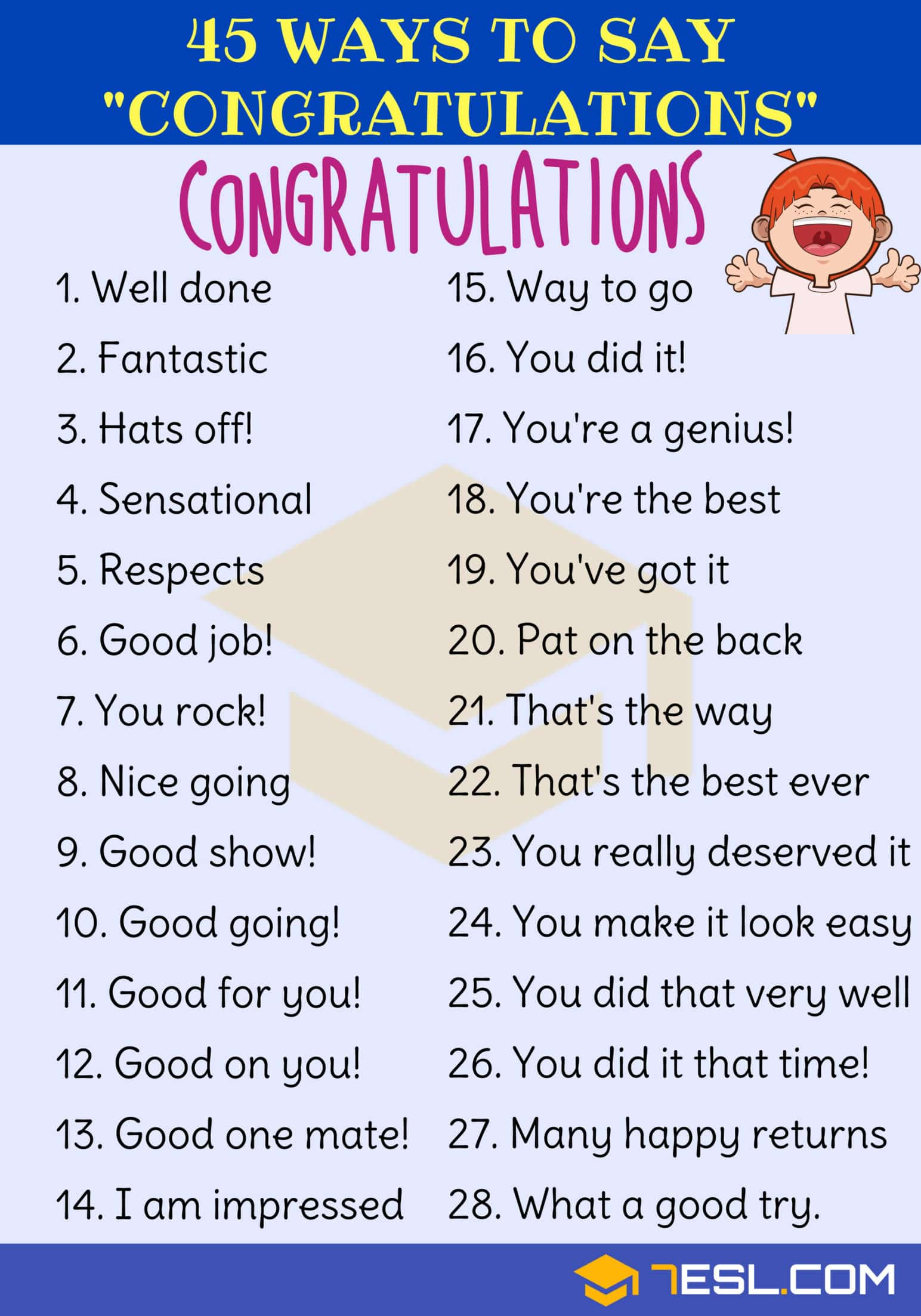 Ways to Say CONGRATULATIONS