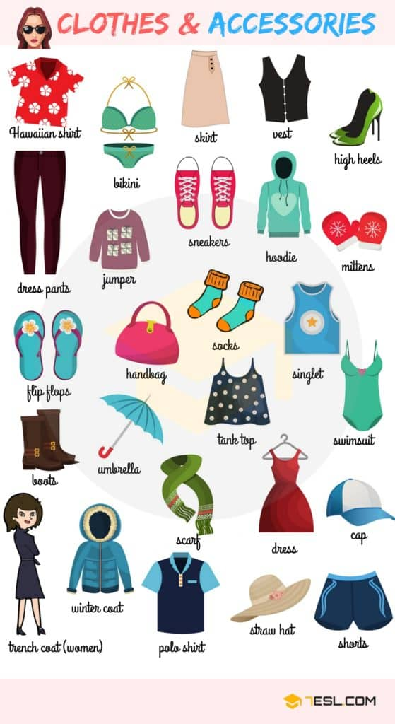 Clothes and Accessories Vocabulary in English