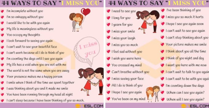 Beautiful Ways to Say I MISS YOU in English 2