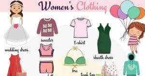 Women's Clothing Vocabulary.