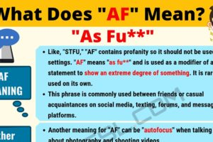 AF Meaning: What Does AF Mean? 9
