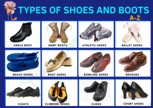 Types of Shoes and Boots - Vocabulary Word List