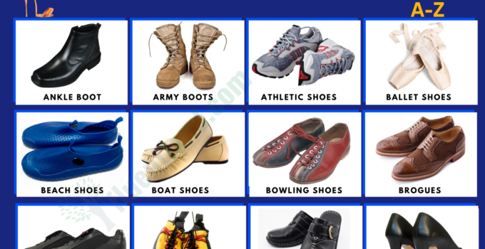 Types of Shoes and Boots - Vocabulary Word List 1