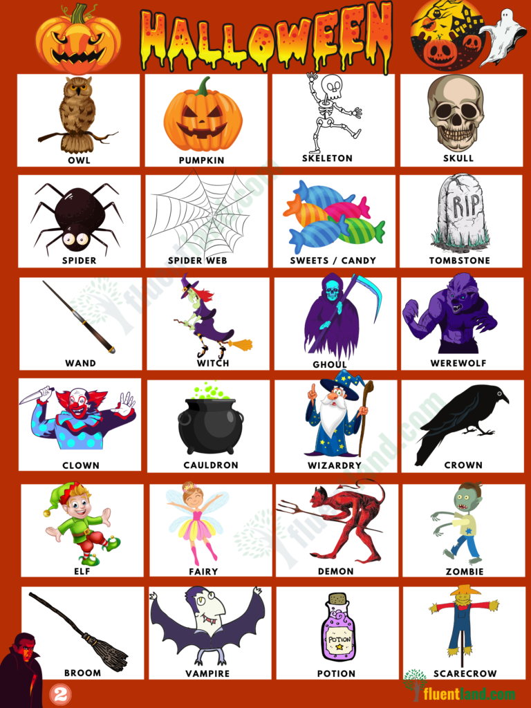 Halloween Vocabulary Word List 3