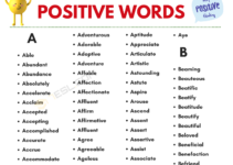 Positive Words Vocabulary List 5