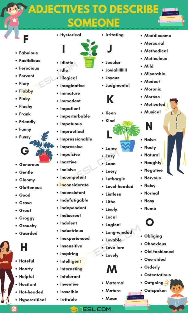 Adjectives to describe someone Vocabulary Word List 3
