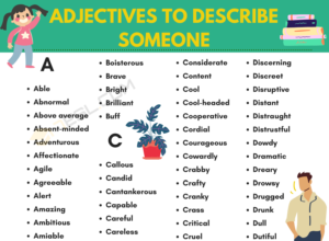 Adjectives to describe someone Vocabulary Word List