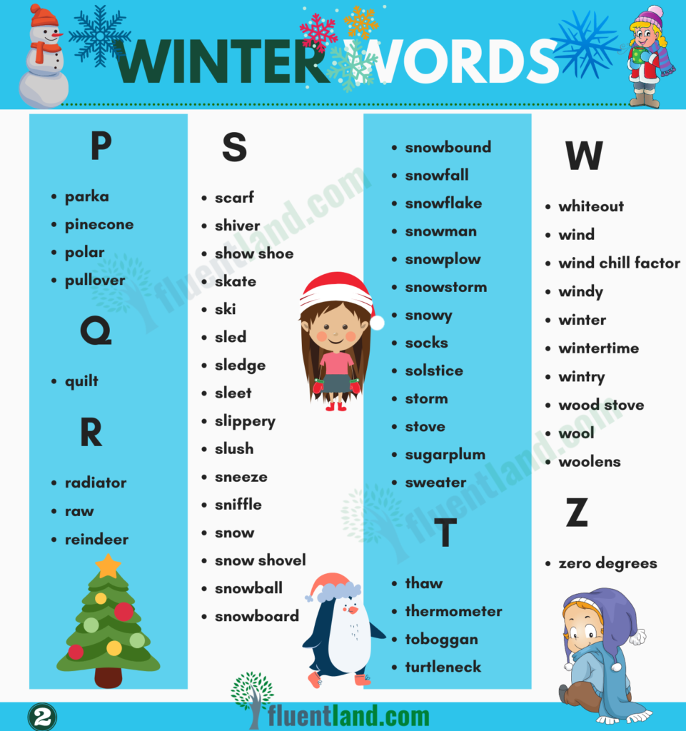Winter Vocabulary   Useful List Of Words About Winter with pictures 3