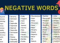 Negative Vocabulary Word List