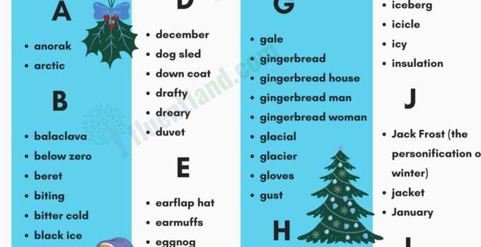 Winter Vocabulary   Useful List Of Words About Winter with pictures 1