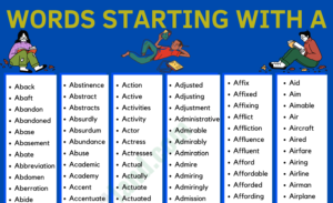 Words That Start With A in English